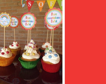Rainbow Party Cupcake Topper