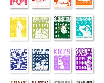 Studio Ghibli Motif Collection, Pack of 16 Prints, Anime Decor, Anime Gifts