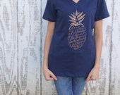 SALE! WOMEN'S Fruit of the Spirit Pineapple Print- Navy Blue with Copper Shimmer Print