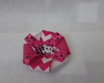 Stacked Ribbon Pink Skull Hair Bow