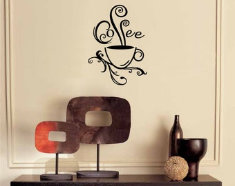 Superieur Swirl Coffee Cup Wall Decal Kitchen Decor Wine Decal Diy Home Decor Kitchen Wall  Decor Kitchen
