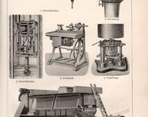 1898 Old Engines Illustration, Antique Print, Vintage German Lithograph, Threshing Machine, Centrifuge, Lathe, Pump, Knitting Frame, Drill