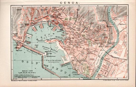 Genoa City Map Italy Genova Liguria Italia German - Italy map genoa