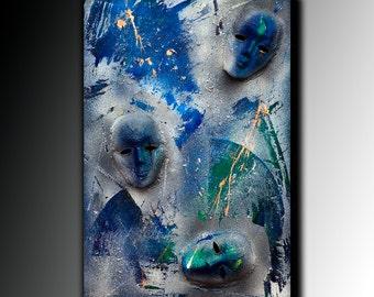 Painting Acrylic Abstract Painting Canvas Art Large Mask Handmade 3D wall art modern Acrylic Painting textured Art by Anna Bulka.