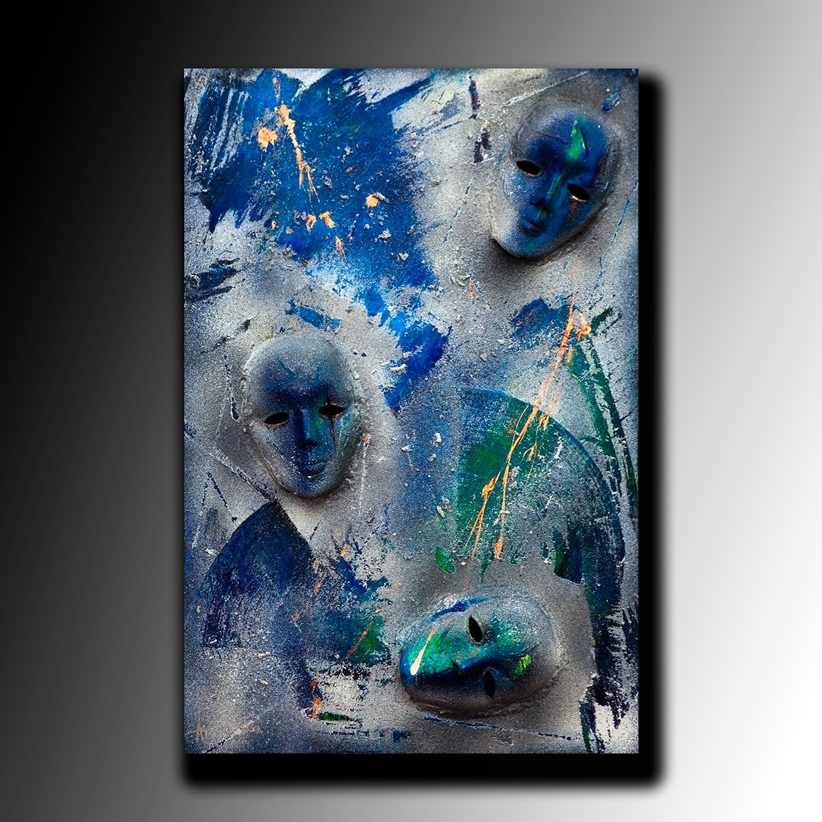 Painting acrylic abstract painting canvas art large mask for Texture painting ideas canvas