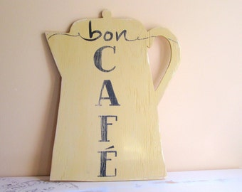 Mustard Yellow Kitchen Decor - French Theme - Coffee Station Sign - Bon Cafe - Rustic Home Decoration -  Coffee Pot Sign