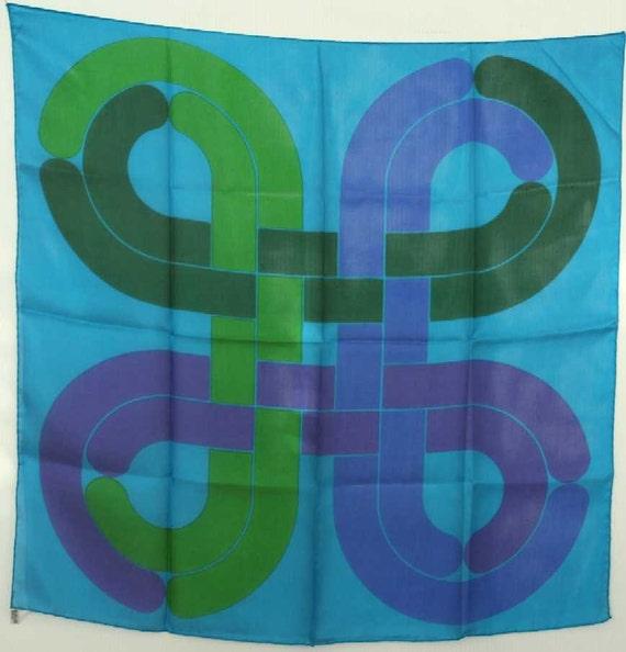 Original Vintage Pop Art Silk Scarf Italy L Blue Green NWOT