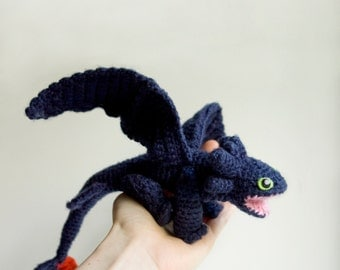 Dragon crochet pattern, Toothless amigurumi pattern, Night Fury dragon crochet doll pattern, HTTYD baby dragon amigurumi doll pattern