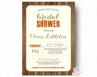 Fall Wedding Shower Invitations // Autumn Bridal Shower Invitations // Printable Wood Bridal Shower Invites // Fall Bridal Invitations