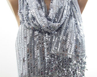 Metallic Gray Scarf Shawl Silver Sequin Scarf Sparkle Scarf Wedding Winter Holiday Fashion Accessory Christmas Gift For Her