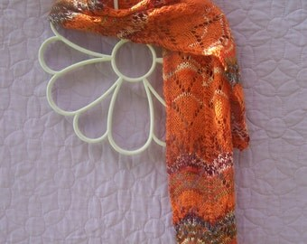 Orange multi scarf, orange lacy scarf, fashion scarf, thin scarf, orange wool scarf, handknit wool scarf, lacy wool scarf, orange muffler