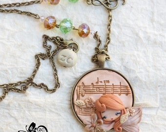 polymer clay necklace / fairy/ fimo/ clay / zingara creativa/ music collection