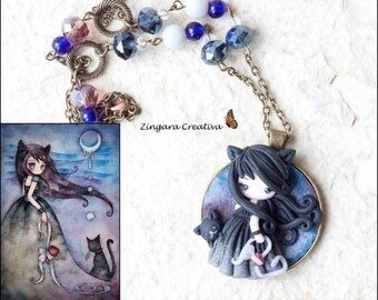 polymer clay necklace / fairy/ fimo/ clay / zingara creativa/yuri ueda collection