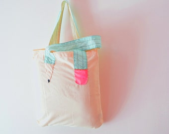 """Hand made tote bag with mint and neon pink """"pencil"""" handles"""