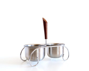 Vintage Stainless Steel and Wood Appetizer Bowls with Caddy