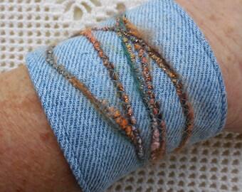 "Denim Bracelet Cuff, 1980's metal button, brown teal glitter slub yarn, stone wash jeans, upcyled vintage jewelry, bangle, for 6 1/4"" wrist"