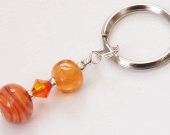 Orange keyring, lampwork keyring, swarovski keychain, bag accessory, artisan lampwork keyring, fire opal keyring, beaded keychain, UK seller