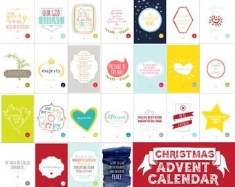 Christmas Advent Calendar // Scripture Based // Bible Advent // 25 4x6 INSTANT DOWNLOAD PRINTS