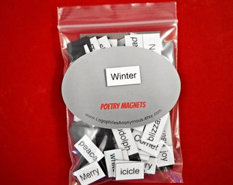 Winter Poetry Magnets - Refrigerator Poetry Word Magnets