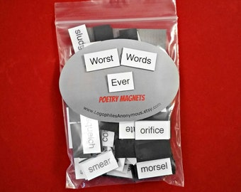 Worst Words Ever Poetry Magnets - Refrigerator Poetry Word Magnets