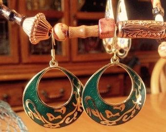 Emerald Green on Gold Dangle Earrings