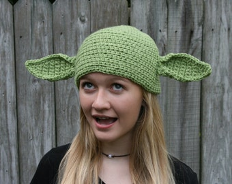 Star Wars Inspired Yoda Hat with Poseable Ears - Newborn to Adult Sizes
