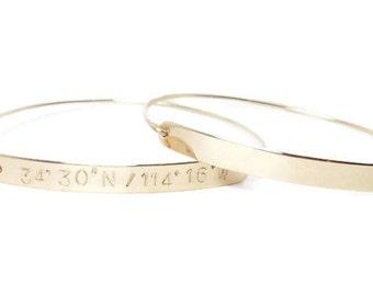 Gold Bar Bracelet, Coordinate Bracelet, Latitude Longitude Bracelet, Personalized Bangle Bracelet, Custom Coordinates, Gold Stackable Bangle