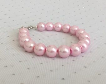 Chunky Pink Pearl Bracelet, Light Pink Glass Pearl, Pink Pearl Wedding Jewelry, Pink Bridesmaid Jewelry Gift, Light Pink Beaded Jewelry