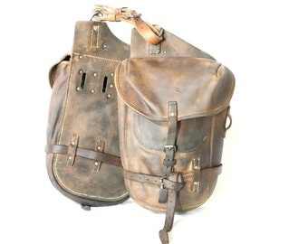 SWISS ARMY Panniers 1957, Military Leather Packsaddle Bags, Connected Horse Cavalry or Condor A350 Motorcycle Bags, Made in Switzerland