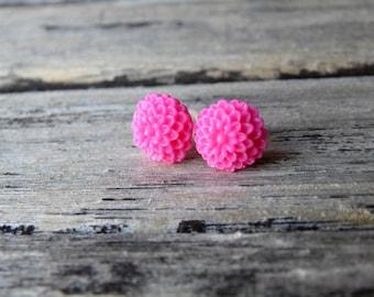Hot Pink Chrysanthemum Earrings, Flower cabochon earrings, Shabby earrings, Fuchsia Post earrings, Bridesmaid earrings, Bridal Earrings