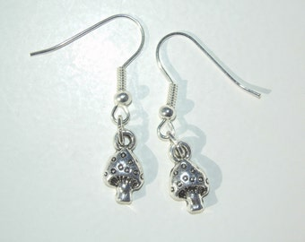 Silver Toadstool Charm Drop Earrings