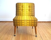 Mid Century Modern Chair, Living Room Chair, Armless Chair, Restored Mid Century Chair, Yellow Chair, Bohemian Chic Decor, Geometric Chair
