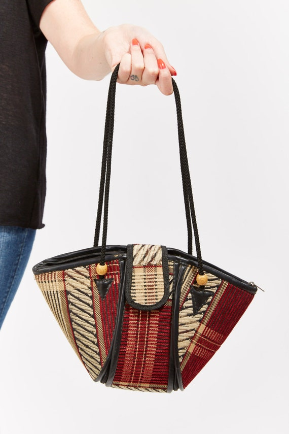 Vtg 80s Mixed Print Embroidered Barrel Shaped PURSE Ethnic Woven Tribal Print Hobo Shoulder Bag Handbag Guatemalan Hippie Boho Festival Bead