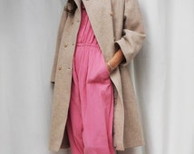 Vintage Wool Coat, Womens Winter Wool Cream 70s Coat, Statement Coat, Womens Structured Coat, Oversized Wool Coat, Vintage 70s Womens Coat
