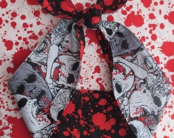 "WIDE 4"" Blood Splatter Stains Zombie pin up goth Head scarf  Headband Pinup Psychobilly Rockabilly Horror Monsters Bloody Bow"