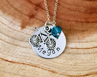 Personalized Bicycle Name Necklace, Bicycle Charm Necklace