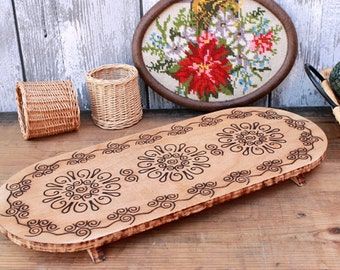 Vintage wood tray pokerwork, rustic kitchen decor, 60s mid century style East German GDR kitchen 50s living room