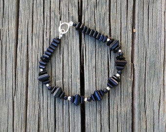 Geometric Black Onyx Stacked Square Bracelet, beaded with Sterling silver