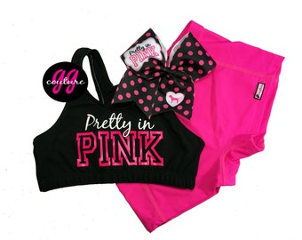 "Custom Neon ""Pretty in Pink"" Cheer Set - Buy Just Sports Bra or Make It a Complete Set"