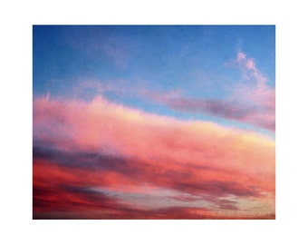Pink abstract art, abstract photography, sunset photography, cloud art, sky photography, dreamy photography, blue, 8x10 art print