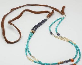 Turquoise, Citrine, Iolite, Carnelian, Wood Beads, Sterling Silver Necklace