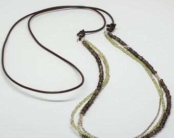 Smokey Quartz, Peridot, Sterling Silver Necklace