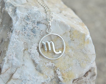 Zodiac Scorpio pendant necklace, silver Horoscope jewelry zodiac sign necklace astrology sign sterling silver 925 birthday gift