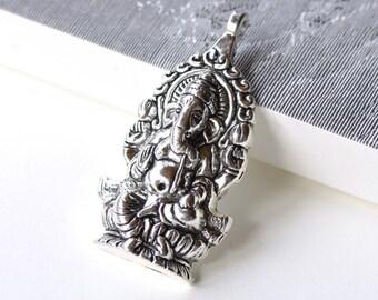 Antique Silver Thai Elephant Pendants Charms 32x62mm Set of 5 A8102