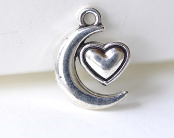 Crescent Moon Heart Charms Antique Silver Pendants 13x18mm Set of 20 A8111