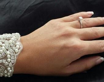 """ON SALE - Rhinestone and Pearl Cuff - """"CALI"""" - Brilliant Bridal Rhinestone and Pearl Cuff, Bridal Bracelet"""