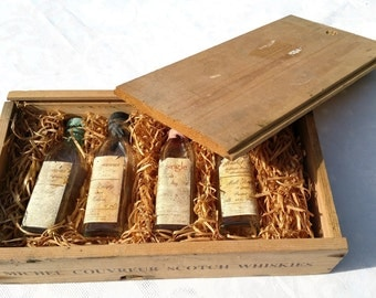 french vintage  wooden box ,mini Whiskey bottles box, Michel Couvreur wooden box,mini bottles of whiskey