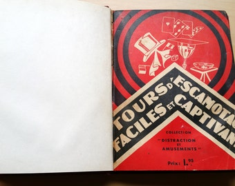 1930   french vintage magic tricks book  ,red book
