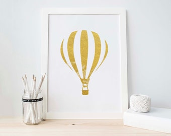 Gold Foil Printable, Hot Air Balloon, Gold Glitter Balloon, Gold Nursery Printable, Nursery Printable, Baby Girl Decoration, Gold Foil