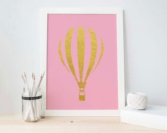 Pink Printable, Hot Air Balloon, Gold Glitter Balloon Print, Gold Nursery Printable, Nursery Printable, Baby Girl Decoration